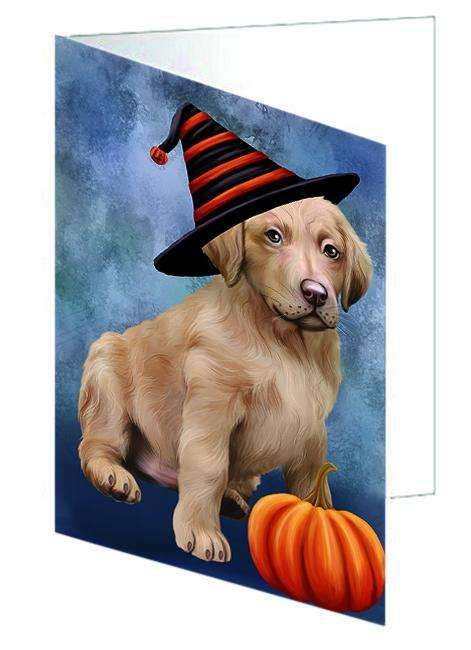 Happy Halloween Chesapeake Bay Retriever Dog Wearing Witch Hat with Pumpkin Greeting Card GCD68801
