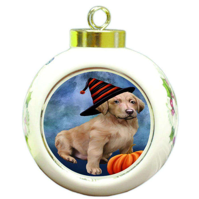 Happy Halloween Chesapeake Bay Retriever Dog Wearing Witch Hat with Pumpkin Round Ball Christmas Ornament RBPOR55052