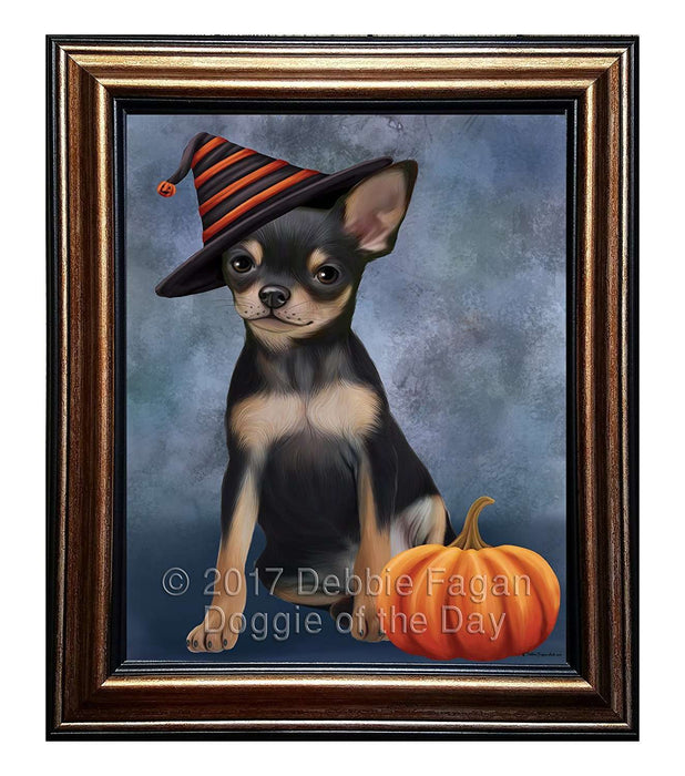 Happy Halloween Chihuahua Dog Wearing Witch Hat with Pumpkin Framed Canvas Print Wall Art