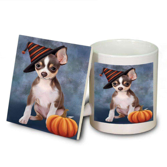 Happy Halloween Chihuahua Dog Wearing Witch Hat with Pumpkin Mug and Coaster Set