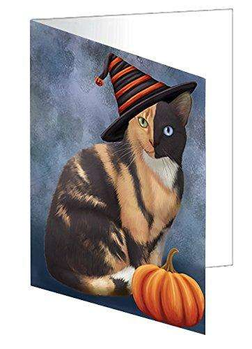 Happy Halloween Chimera Cat Wearing Witch Hat with Pumpkin Greeting Card