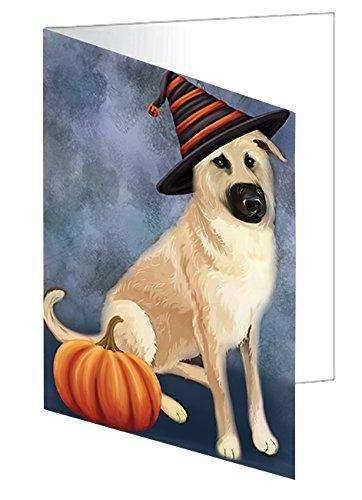 Happy Halloween Chinook Dog Wearing Witch Hat with Pumpkin Greeting Card