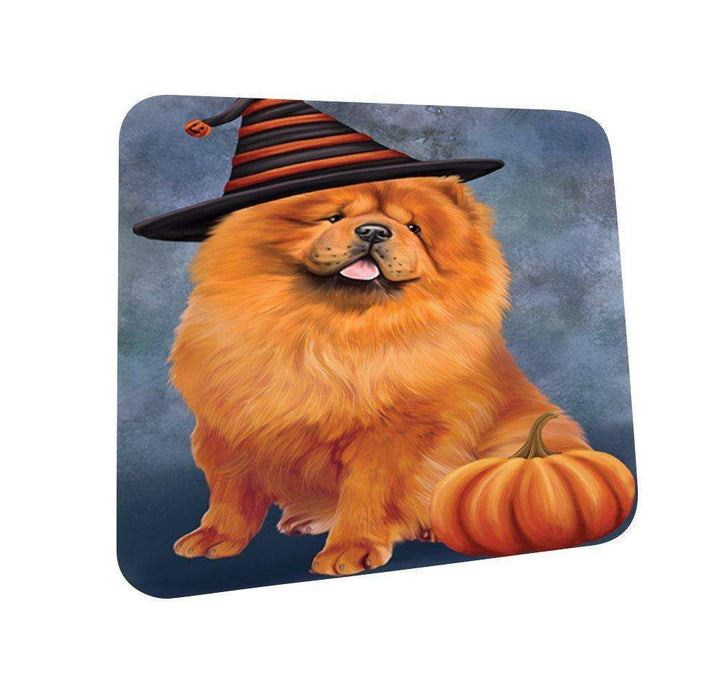 Happy Halloween Chow Chow Dog Wearing Witch Hat with Pumpkin Coasters Set of 4