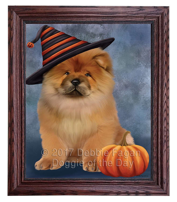 Happy Halloween Chow Chow Dog Wearing Witch Hat with Pumpkin Framed Canvas Print Wall Art