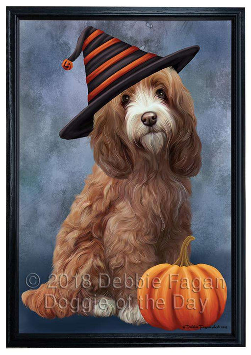 Happy Halloween Cockapoo Dog Wearing Witch Hat with Pumpkin Framed Canvas Print Wall Art FCVS164450