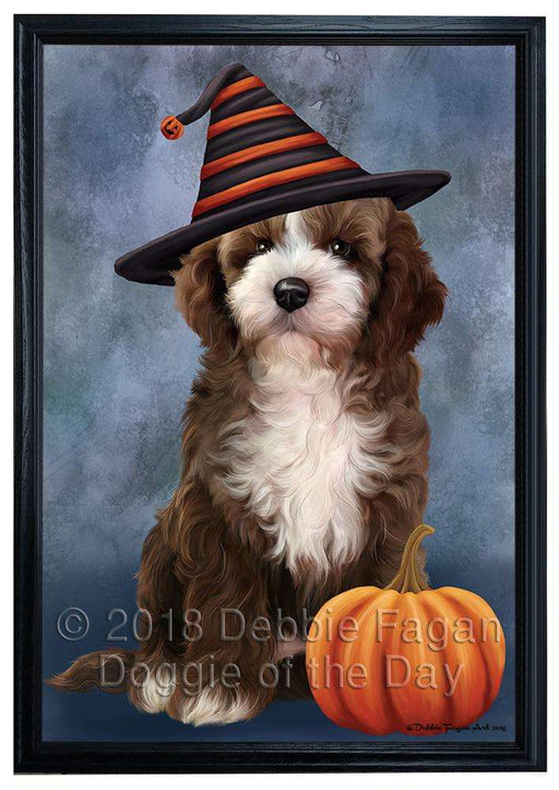 Happy Halloween Cockapoo Dog Wearing Witch Hat with Pumpkin Framed Canvas Print Wall Art FCVS164467
