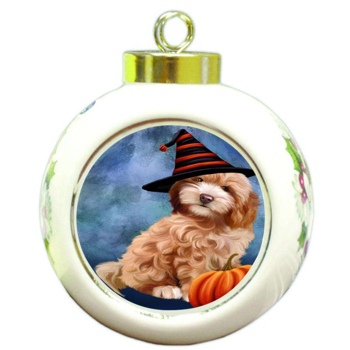 Happy Halloween Cockapoo Dog Wearing Witch Hat with Pumpkin Round Ball Christmas Ornament RBPOR55019