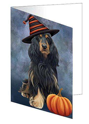 Happy Halloween Cocker Spaniel Dog Wearing Witch Hat with Pumpkin Greeting Card D013
