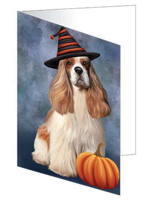 Happy Halloween Cocker Spaniel Dog Wearing Witch Hat with Pumpkin Greeting Card GCD68585