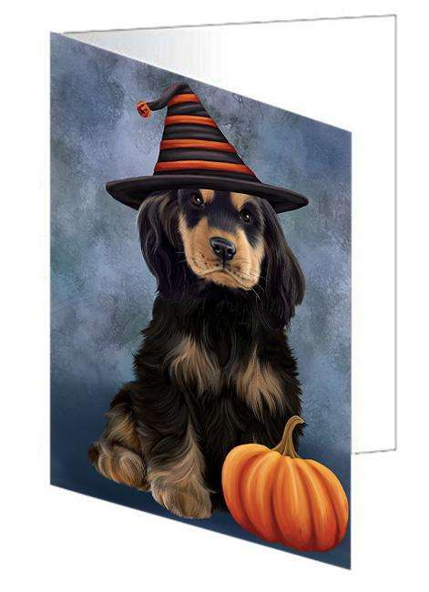 Happy Halloween Cocker Spaniel Dog Wearing Witch Hat with Pumpkin Greeting Card GCD68588