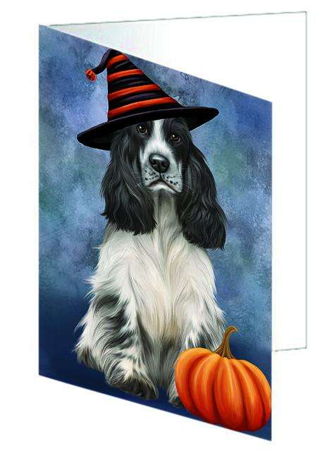 Happy Halloween Cocker Spaniel Dog Wearing Witch Hat with Pumpkin Greeting Card GCD68693