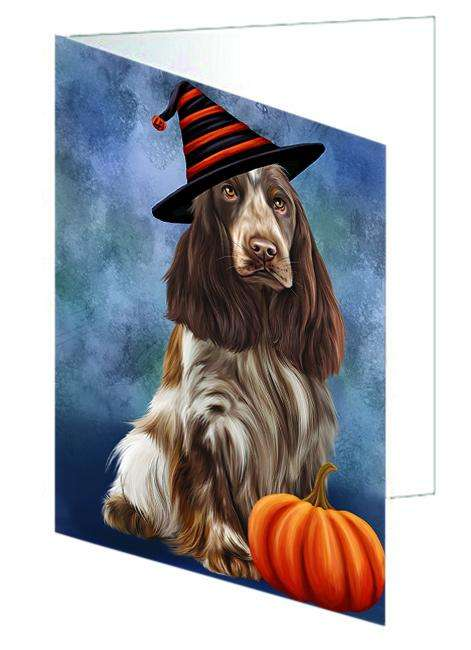 Happy Halloween Cocker Spaniel Dog Wearing Witch Hat with Pumpkin Greeting Card GCD68696