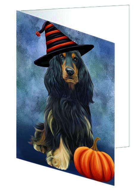 Happy Halloween Cocker Spaniel Dog Wearing Witch Hat with Pumpkin Greeting Card GCD68699