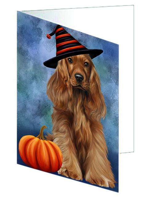Happy Halloween Cocker Spaniel Dog Wearing Witch Hat with Pumpkin Greeting Card GCD68702