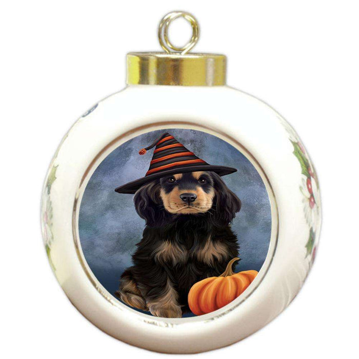 Happy Halloween Cocker Spaniel Dog Wearing Witch Hat with Pumpkin Round Ball Christmas Ornament RBPOR54853
