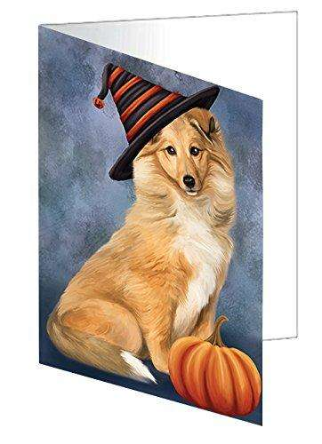 Happy Halloween Collie Dog Wearing Witch Hat with Pumpkin Greeting Card