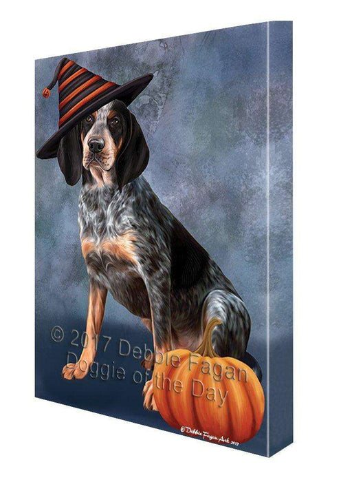 Happy Halloween Coonhound Bluetick Dog Wearing Witch Hat with Pumpkin Canvas Wall Art