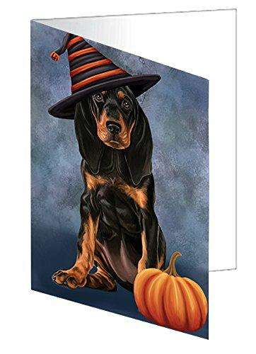 Happy Halloween Coonhound Dog Wearing Witch Hat with Pumpkin Greeting Card