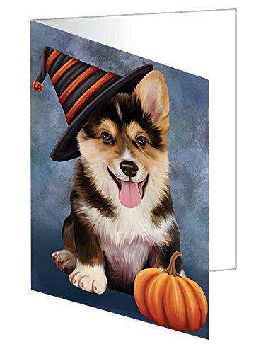 Happy Halloween Corgi Dog Wearing Witch Hat with Pumpkin Greeting Card