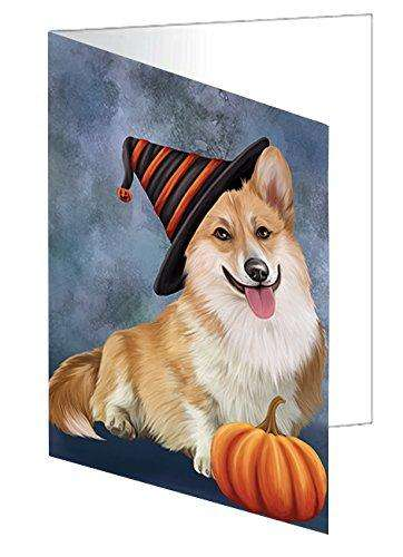 Happy Halloween Corgi Dog Wearing Witch Hat with Pumpkin Note Card