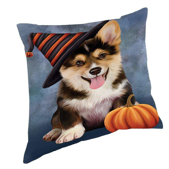 Happy Halloween Corgi Dog Wearing Witch Hat with Pumpkin Throw Pillow