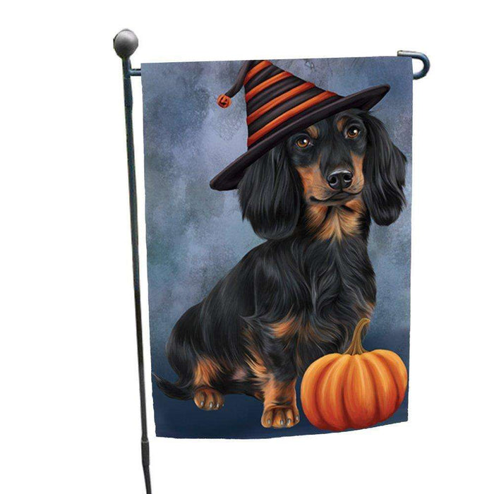 Happy Halloween Dachshund Dog Wearing Witch Hat with Pumpkin Garden Flag
