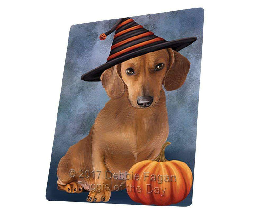 Happy Halloween Dachshund Dog Wearing Witch Hat with Pumpkin Large Refrigerator / Dishwasher Magnet D105