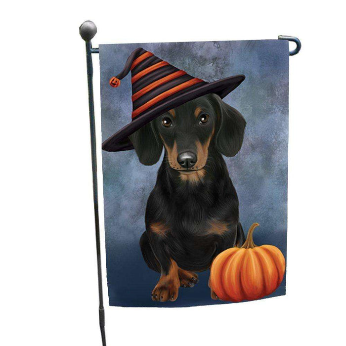 Happy Halloween Dachshund Wearing Witch Hat with Pumpkin Garden Flag