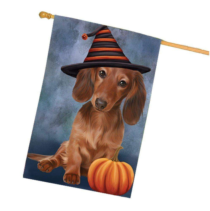 Happy Halloween Dachshunds Dog Wearing Witch Hat with Pumpkin House Flag