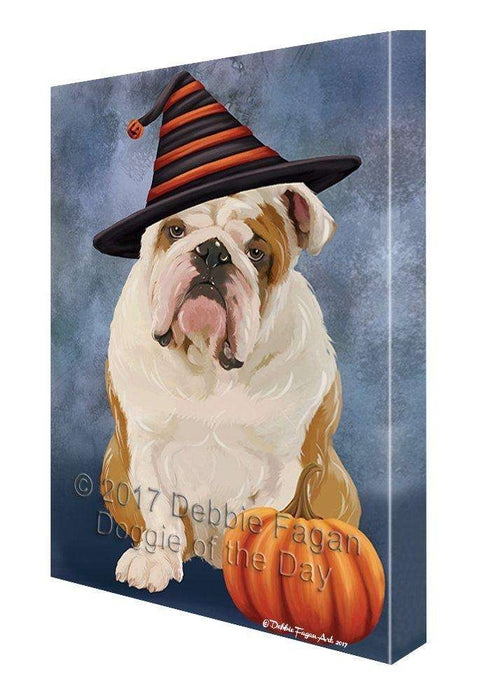 Happy Halloween English Bulldog Dog & Witch Hat with Pumpkin Wall Art Canvas
