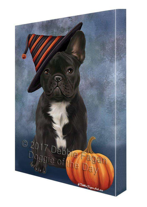 Happy Halloween French Bulldog Dog and Witch Hat with Pumpkin Wall Art Canvas
