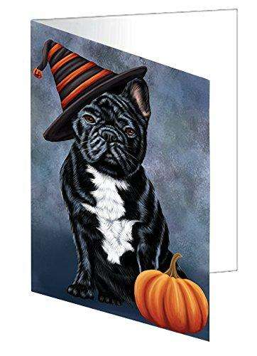 Happy Halloween French Bulldog Dog Wearing Witch Hat with Pumpkin Greeting Card