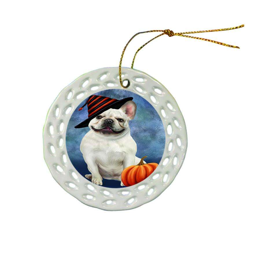 Happy Halloween French Bulldog Wearing Witch Hat with Pumpkin Ceramic Doily Ornament DPOR55079