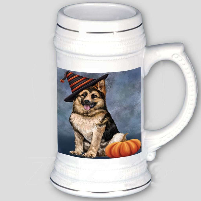 Happy Halloween German Shepherd Dog Wearing Witch Hat with Pumpkin Beer Stein