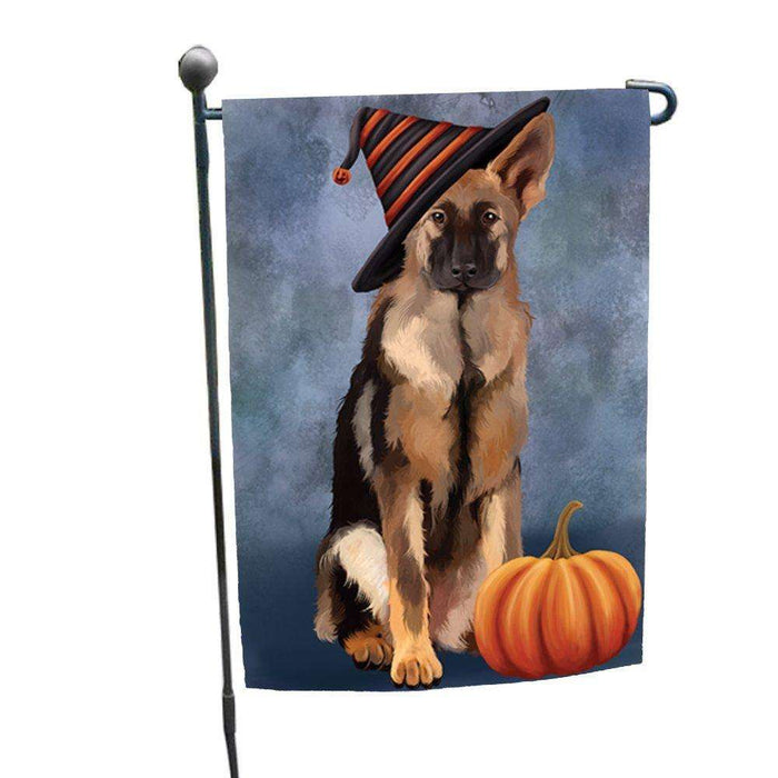 Happy Halloween German Shepherds Dog Wearing Witch Hat with Pumpkin Garden Flag