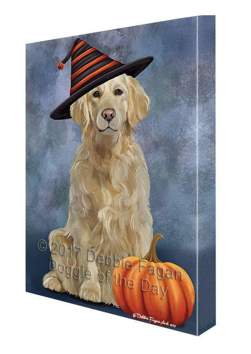 Happy Halloween Golden Retriever Dog and Witch Hat with Pumpkin Wall Art Canvas