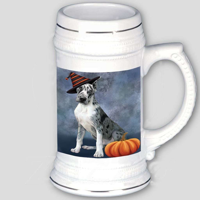 Happy Halloween Great Dane Dog Wearing Witch Hat with Pumpkin Beer Stein