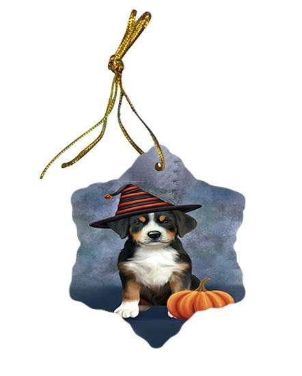 Happy Halloween Greater Swiss Mountain Dog Wearing Witch Hat with Pumpkin Star Porcelain Ornament SPOR54850