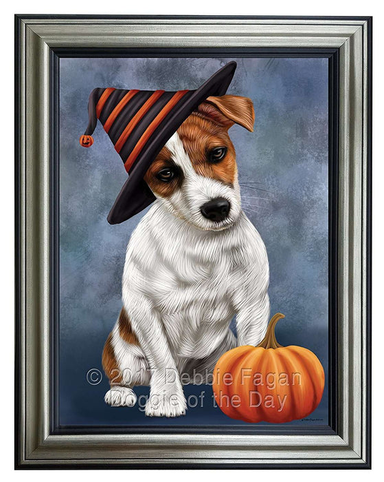 Happy Halloween Jack Russel Dog Wearing Witch Hat with Pumpkin Framed Canvas Print Wall Art