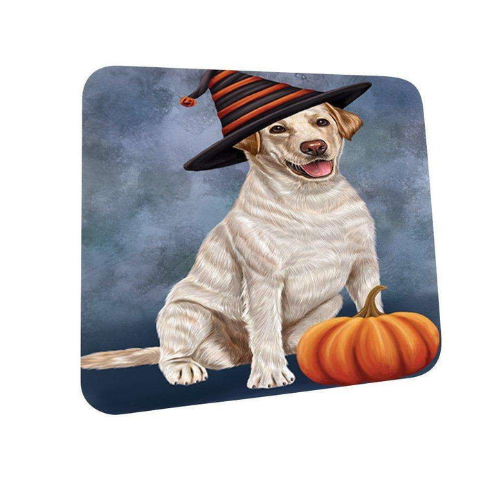 Happy Halloween Labrador Dog Wearing Witch Hat with Pumpkin Coasters Set of 4