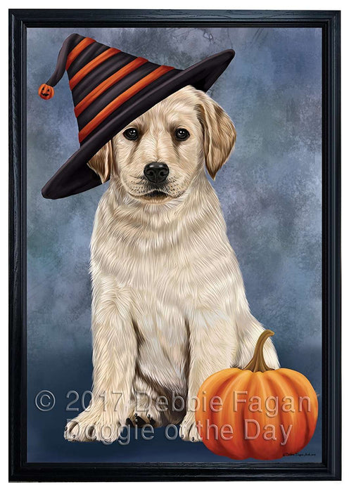 Happy Halloween Labrador Dog Wearing Witch Hat with Pumpkin Framed Canvas Print Wall Art