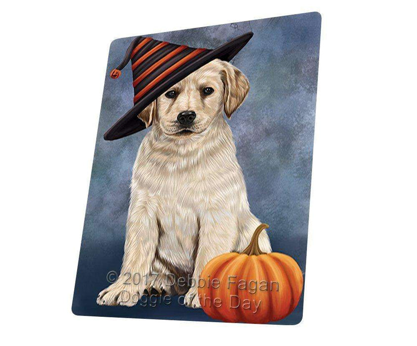 Happy Halloween Labrador Dog Wearing Witch Hat with Pumpkin Large Refrigerator / Dishwasher Magnet