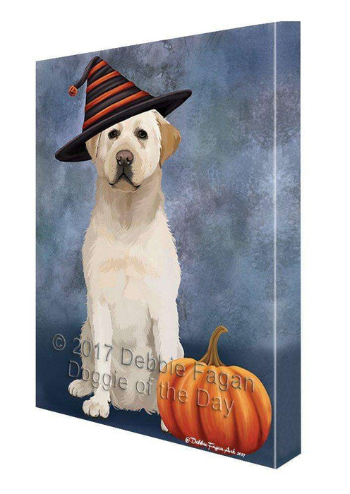 Happy Halloween Labrador Dog Wearing Witch Hat with Pumpkin Wall Art Canvas