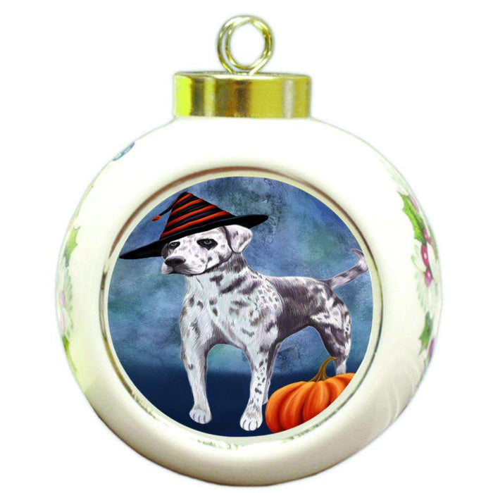 Happy Halloween Louisiana Catahoula Dog Wearing Witch Hat with Pumpkin Round Ball Christmas Ornament RBPOR55030