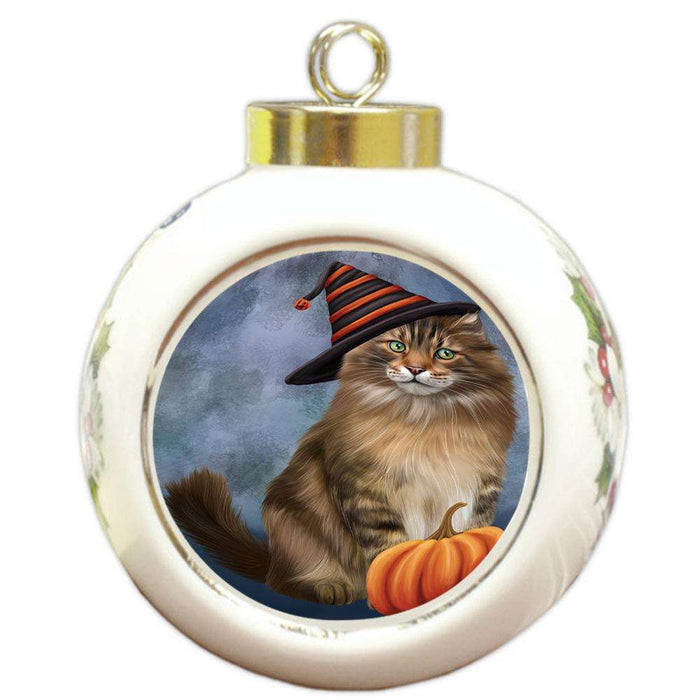 Happy Halloween Maine Coon Cat Wearing Witch Hat with Pumpkin Round Ball Christmas Ornament RBPOR54864