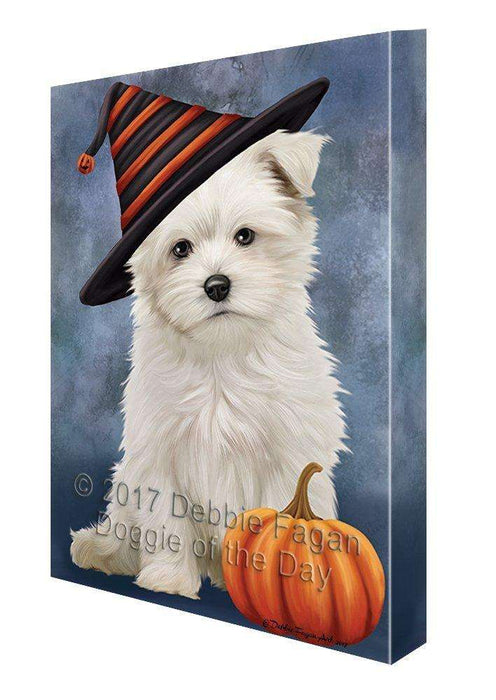 Happy Halloween Maltese Dog Wearing Witch Hat with Pumpkin Canvas Wall Art