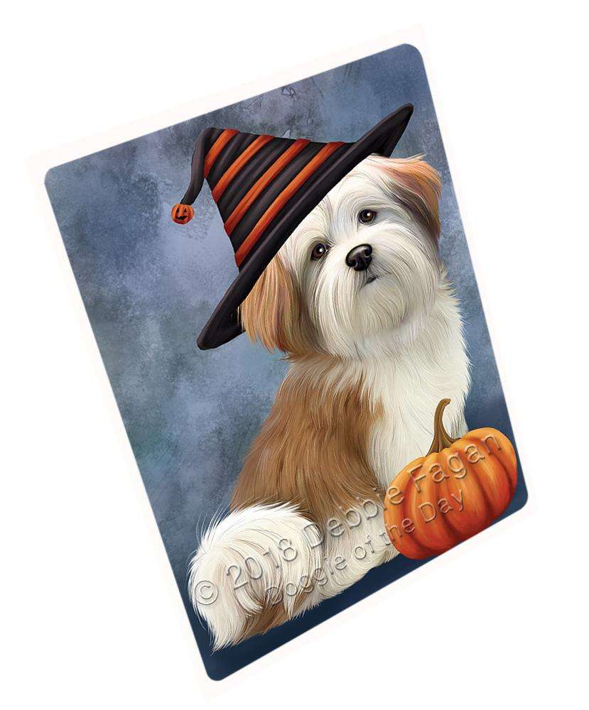 Happy Halloween Malti Tzu Dog Wearing Witch Hat with Pumpkin Large Refrigerator / Dishwasher Magnet RMAG90078
