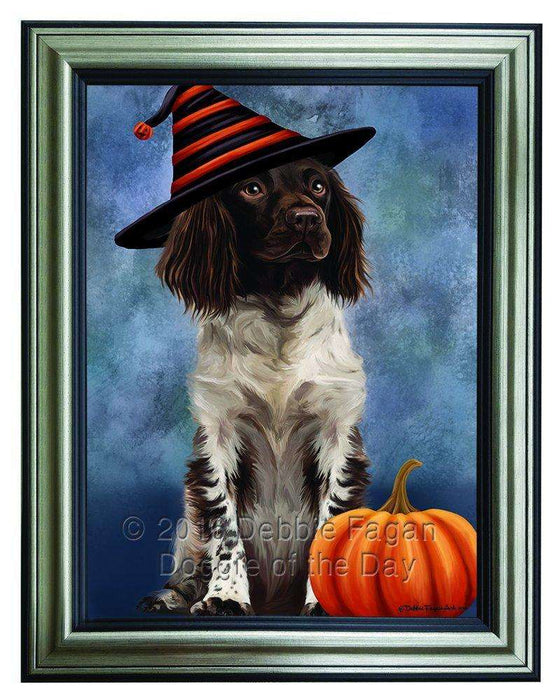 Happy Halloween Munsterlander Dog Wearing Witch Hat with Pumpkin Framed Canvas Print Wall Art