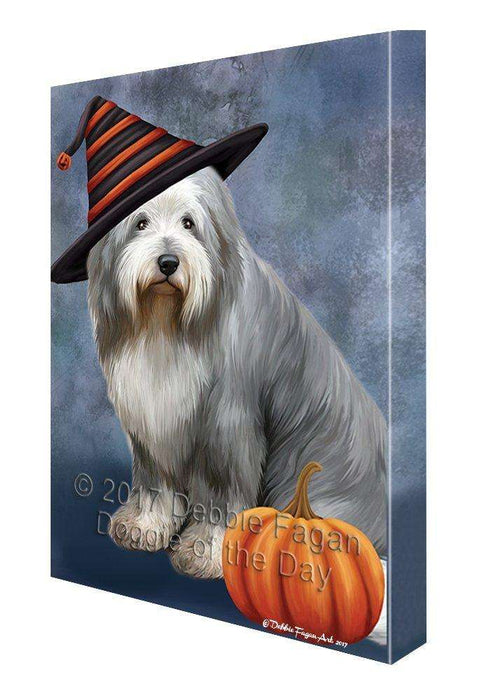 Happy Halloween Old English Sheepdog Wearing Witch Hat with Pumpkin Canvas Wall Art