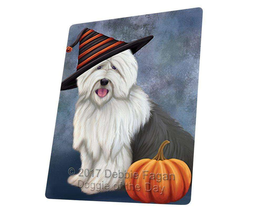 Happy Halloween Old English Sheepdog Wearing Witch Hat with Pumpkin Magnet